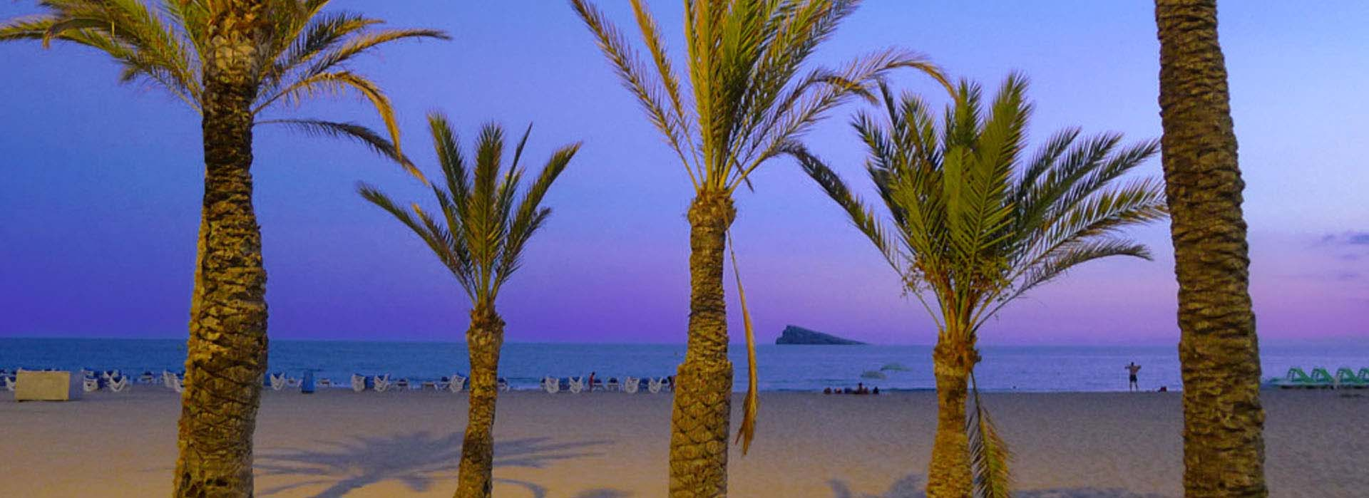 Isla de Benidorm. Benidorm island at sunset